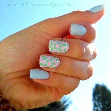 baby blue nail art by Edyta