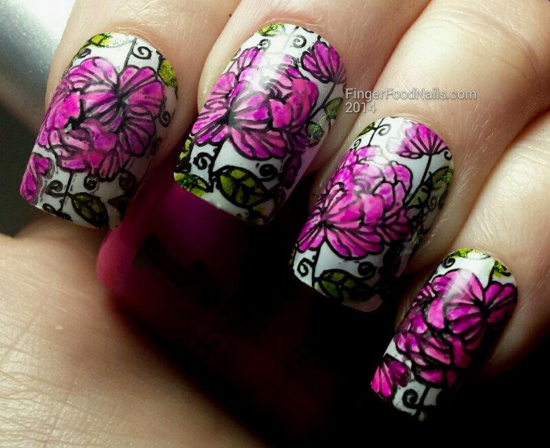 Hot Pink Vintage Floral nail art by Sam
