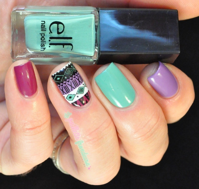 Spring aztec nail art by nathalie lapaillettefrondeuse