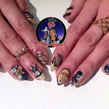 Gold rush nail art by G's Nails N' Creations