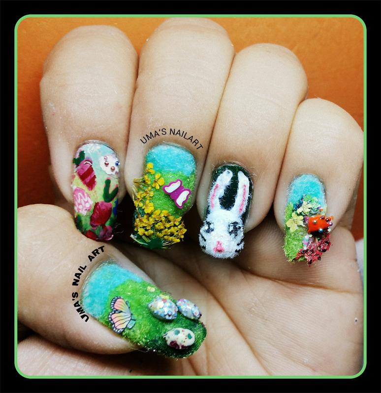 Easter Nail art nail art by Uma mathur