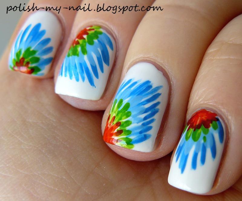 Parrot tail nail art by Ewlyn