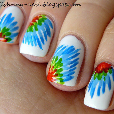 Parrot tail nail art by Ewlyn