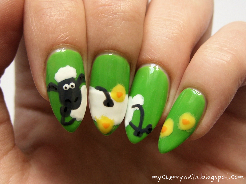 Easter with Shaun the Sheep nail art by Pauline