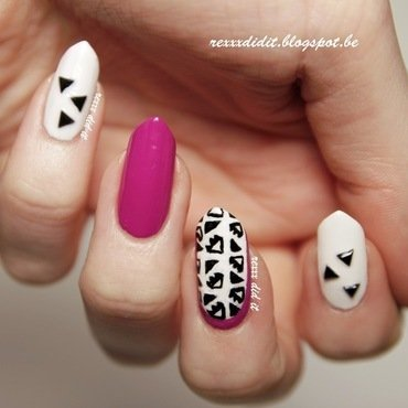 Monochrome Geometric with a Splash of Purple nail art by Robin