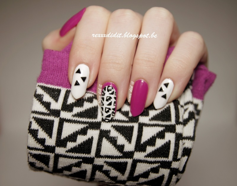 Monochrome Geometric with a Splash of Purple nail art by Robin
