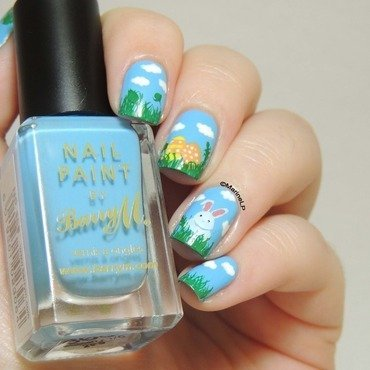 Easter garden nail art by Marine Loves Polish