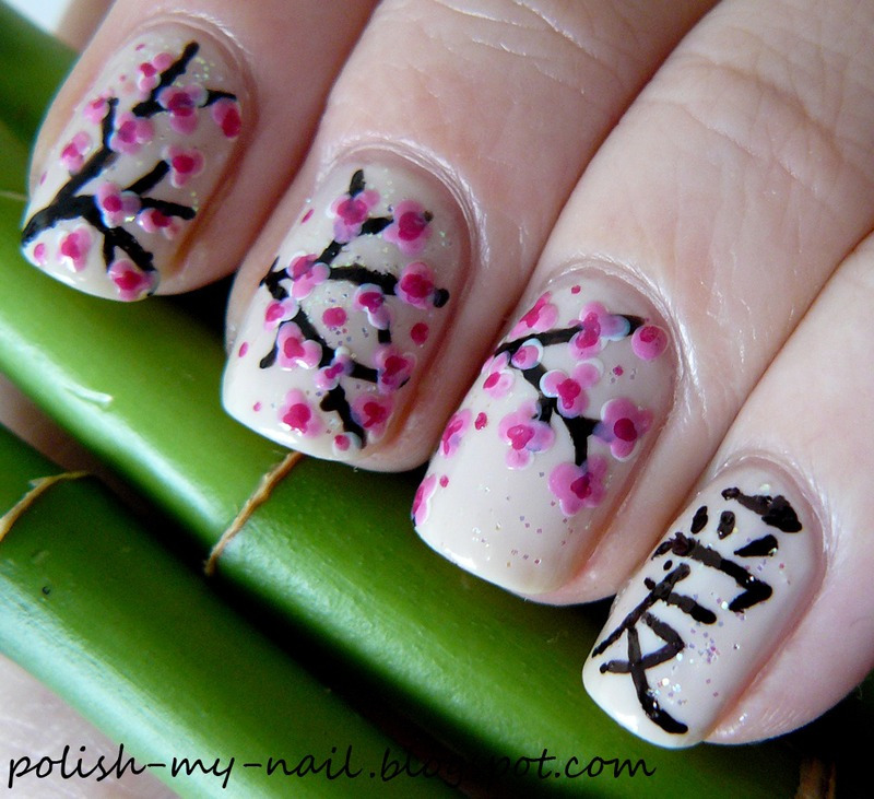 Cherry blossom nail art by Ewlyn