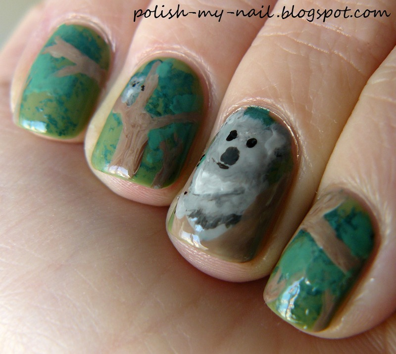 Koala nail art by Ewlyn