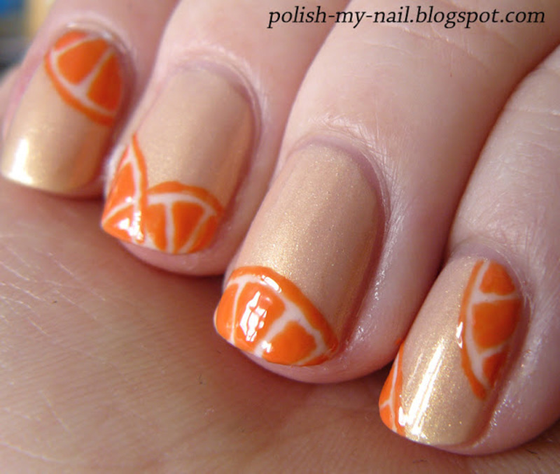Juicy Oranges nail art by Ewlyn