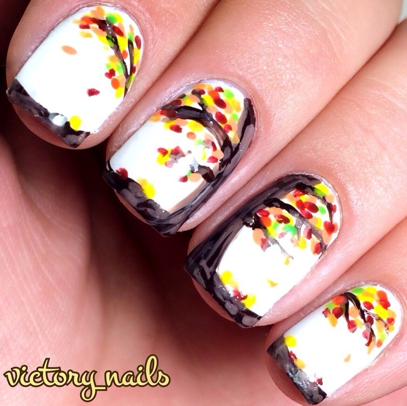 Autumn leaves tree nail art by Nicole