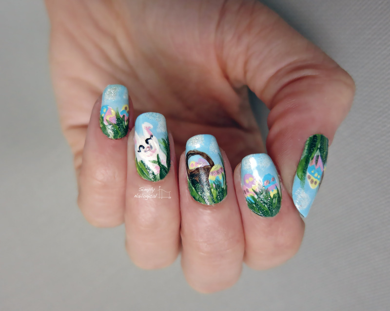 Happy bunny in the grass nail art by simplynailogical