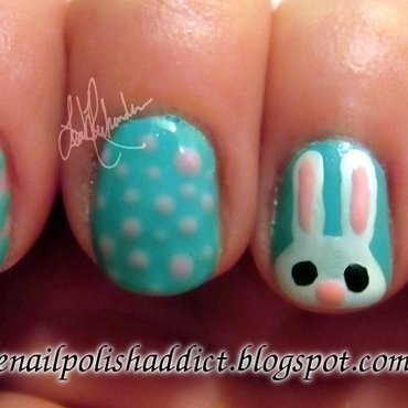 Easter Bunny Nails nail art by Leah