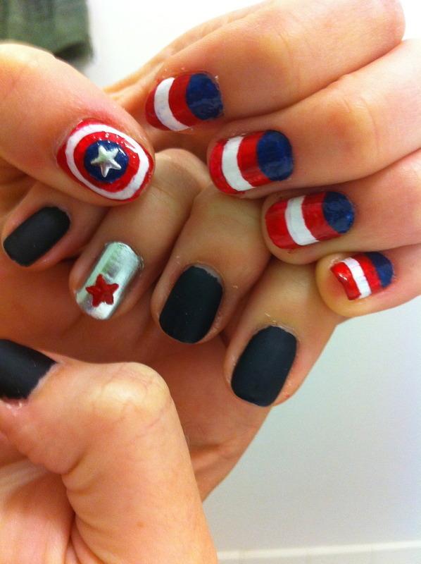 Captain America versus The Winter Soldier nail art by dazyndara ...