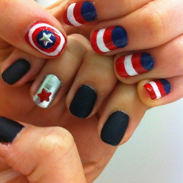 Captain America versus The Winter Soldier nail art by dazyndara