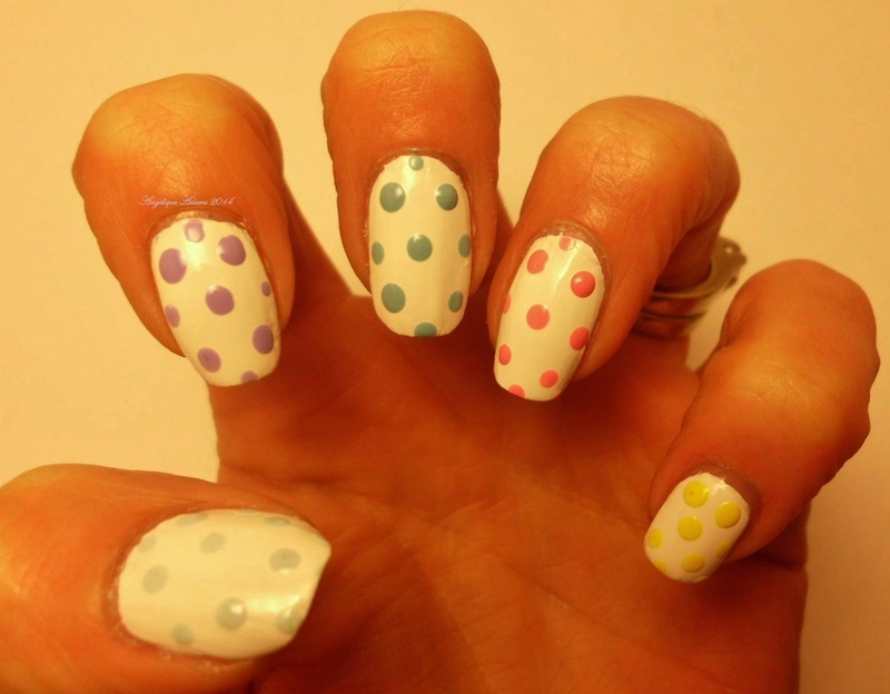 Pastel Dotted Easter Eggs nail art by Angelique Adams