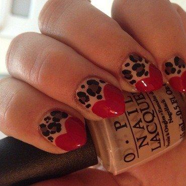 Animal print hearts nail art by Sheree Dean