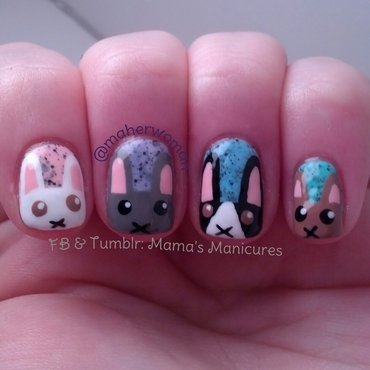 Easter Bunnies nail art by Mama's Manicures (maherwoman)
