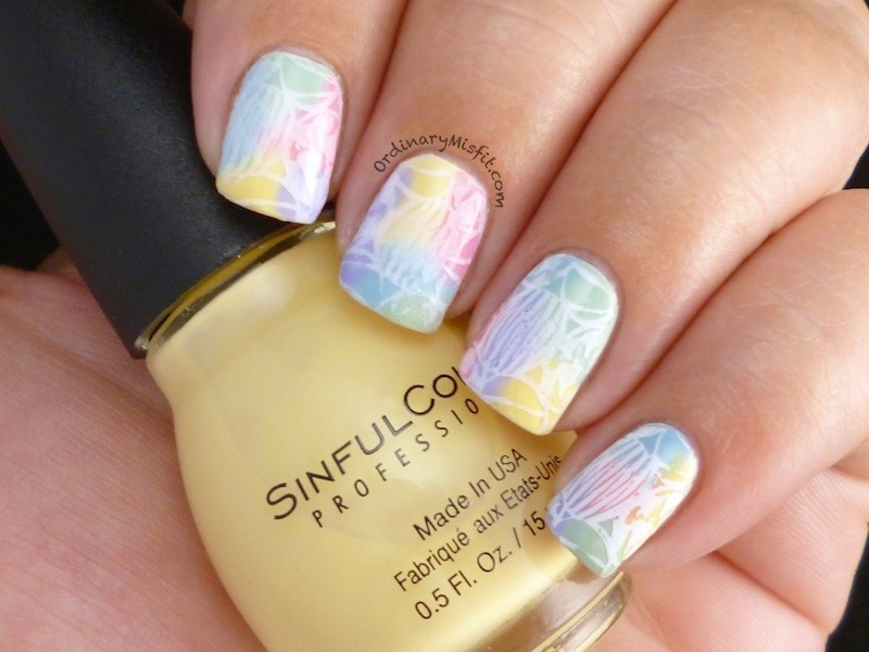 Hand painted easter eggs nail art by Michelle