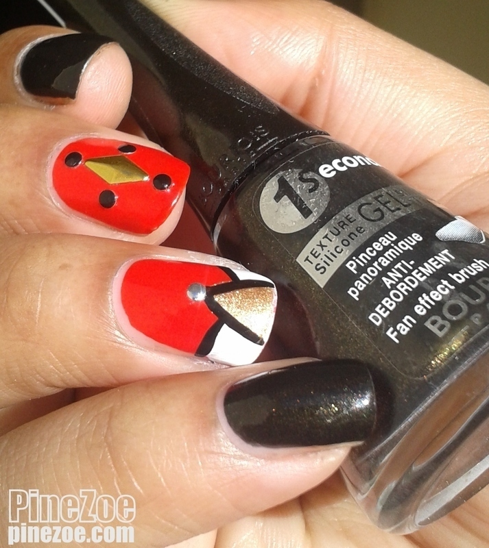 red & black nail art by Pinezoe