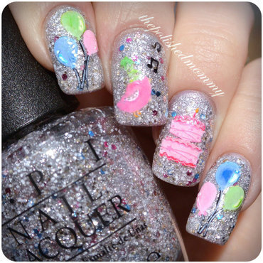 Muppets World Tour Birthday Bash.  nail art by The Polished Mommy