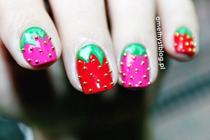 Strawberry nail art by Amethyst