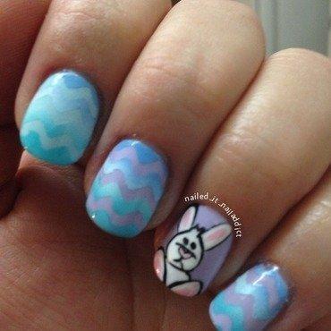 Bunny and chevrons nail art by Sheree Dean