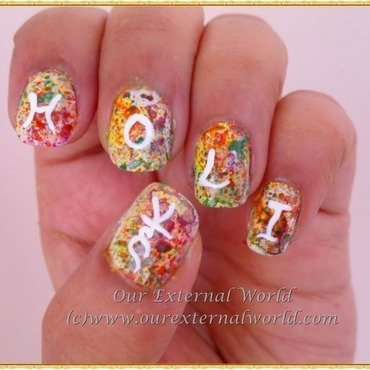 splatter nails - holi hai! nail art by  Shilpa  Gandotra