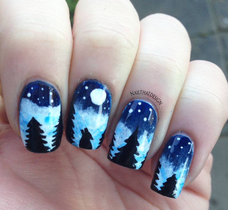 Wolf In Nature Nail Art By Nailthatdesign Nailpolis Museum Of Nail Art