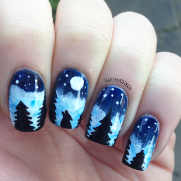 Wolf in Nature  nail art by NailThatDesign