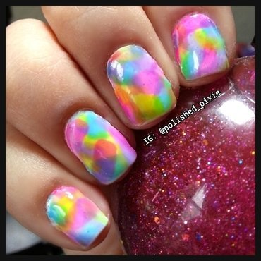 Squishy Rainbowness nail art by Jayshree