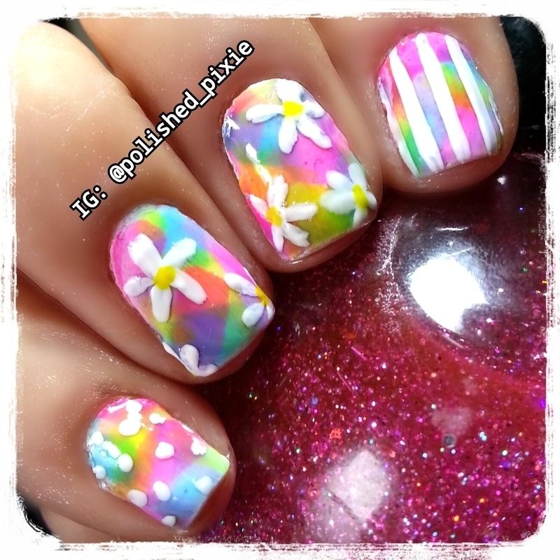 Simple Springtime Daisies Mix & Match nail art by Jayshree