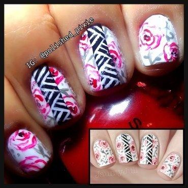 Floral Tribal (inspired by Jaunty Juli) nail art by Jayshree
