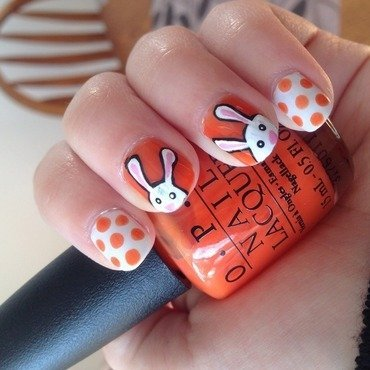 Cartoon Easter Bunnies nail art by Niki My Oh My Nails
