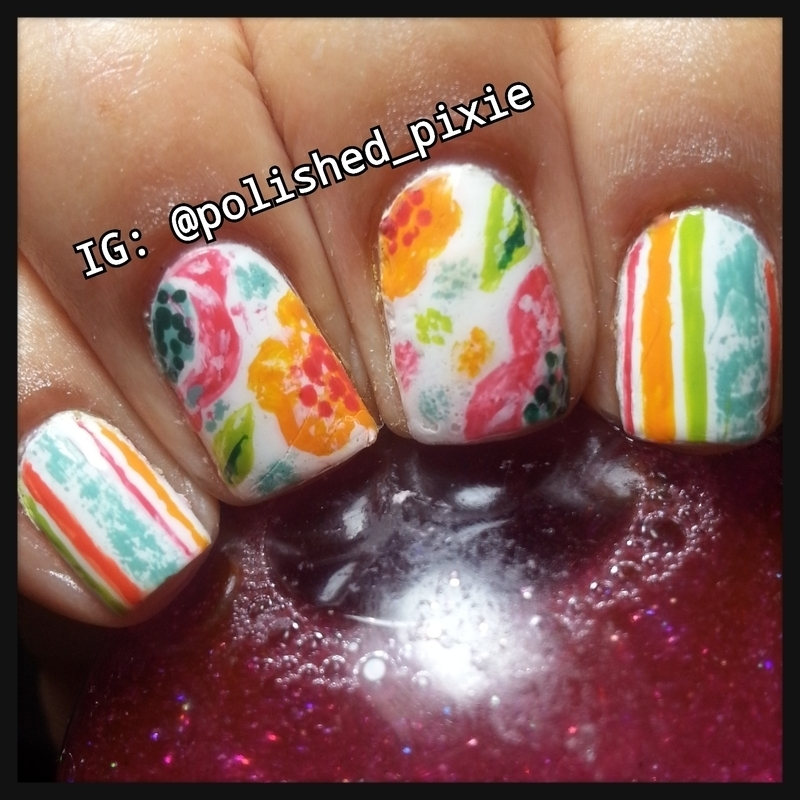 Summery Florals and Stripes nail art by Jayshree