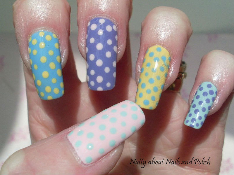 Easter Dots nail art by Tracey - Bite no more
