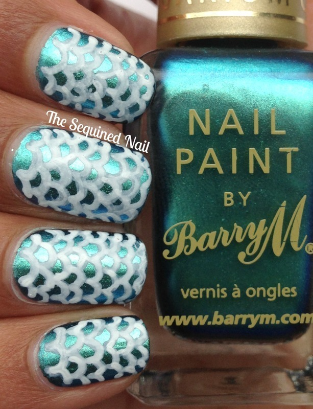 Mermaid Scale Nails nail art by TheSequinedNail