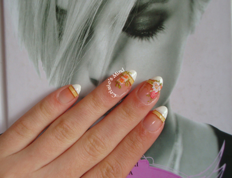 French nails and roses water decals nail art by Christina