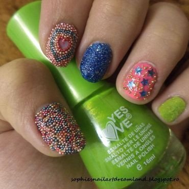 Funky caviar nail art by Sophie