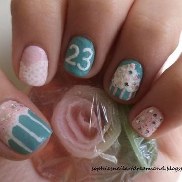 Birthday pastels nail art by Sophie