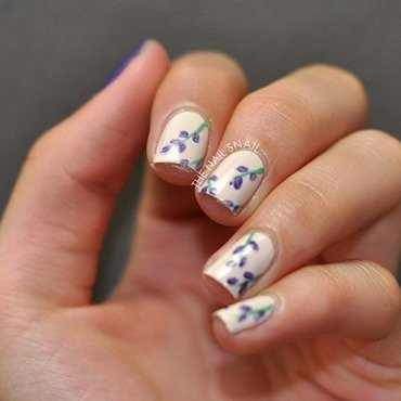 Bedcover-Inspired Larkspur Nails nail art by Lucy (the Nail Snail)