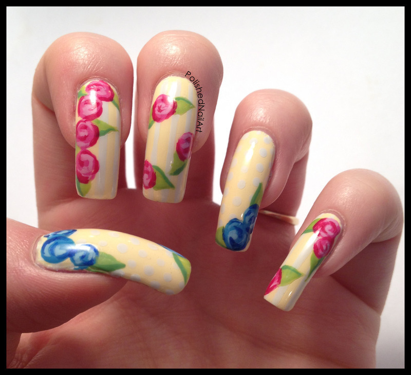 Vintage Floral nail art by Carrie