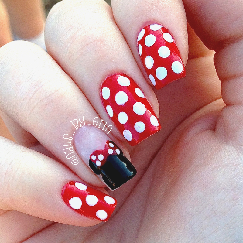 Minnie Mouse Nails nail art by Erin
