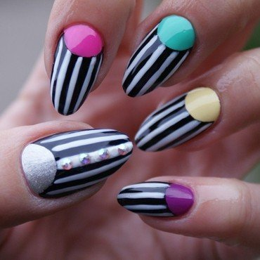 Colour Strips nail art by Angelika