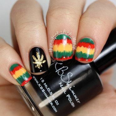 Rasta Nail Art nail art by Kelli Dobrin