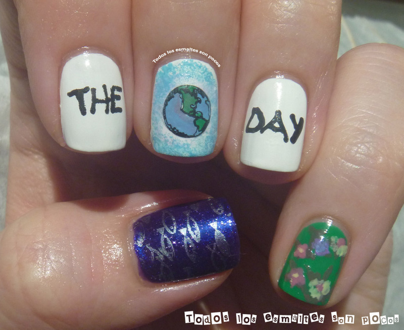 The Earth Day nail art by Maria