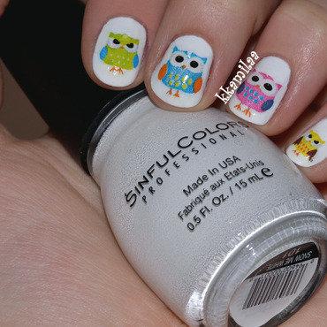 Cute Owls Everywhere! nail art by Kamila