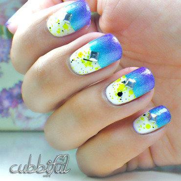 Splattered Sky nail art by Cubbiful