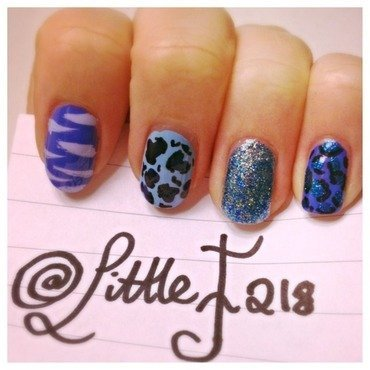 Blue nail art by  Faye