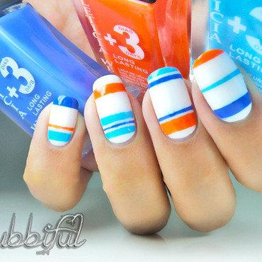 Sailore Stripes nail art by Cubbiful